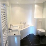 Designradiator en zwevend toilet